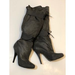 Elizabeth & James Vegas Gray Suede Leather Boots